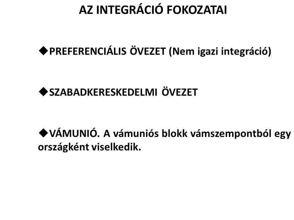 AZ INTEGRÁCIÓ FOKOZATAI  PREFERENCIÁLIS ÖVEZET (Nem igazi integráció)  SZABADKERESKEDELMI ÖVEZET  VÁMUNIÓ. A vámuniós blokk vámszempontból egy orsz