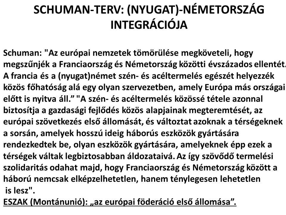 SCHUMAN-TERV: (NYUGAT)-NÉMETORSZÁG INTEGRÁCIÓJA Schuman:
