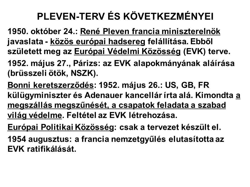 PLEVEN-TERV ÉS KÖVETKEZMÉNYEI 1950. október 24.: René Pleven francia miniszterelnök javaslata - közös európai hadsereg felállítása. Ebből született me