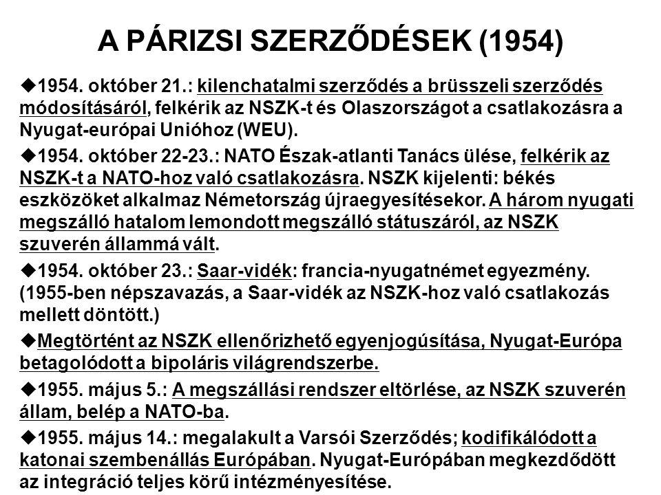 A PÁRIZSI SZERZŐDÉSEK (1954)  1954. október 21.: kilenchatalmi szerződés a brüsszeli szerződés módosításáról, felkérik az NSZK-t és Olaszországot a c