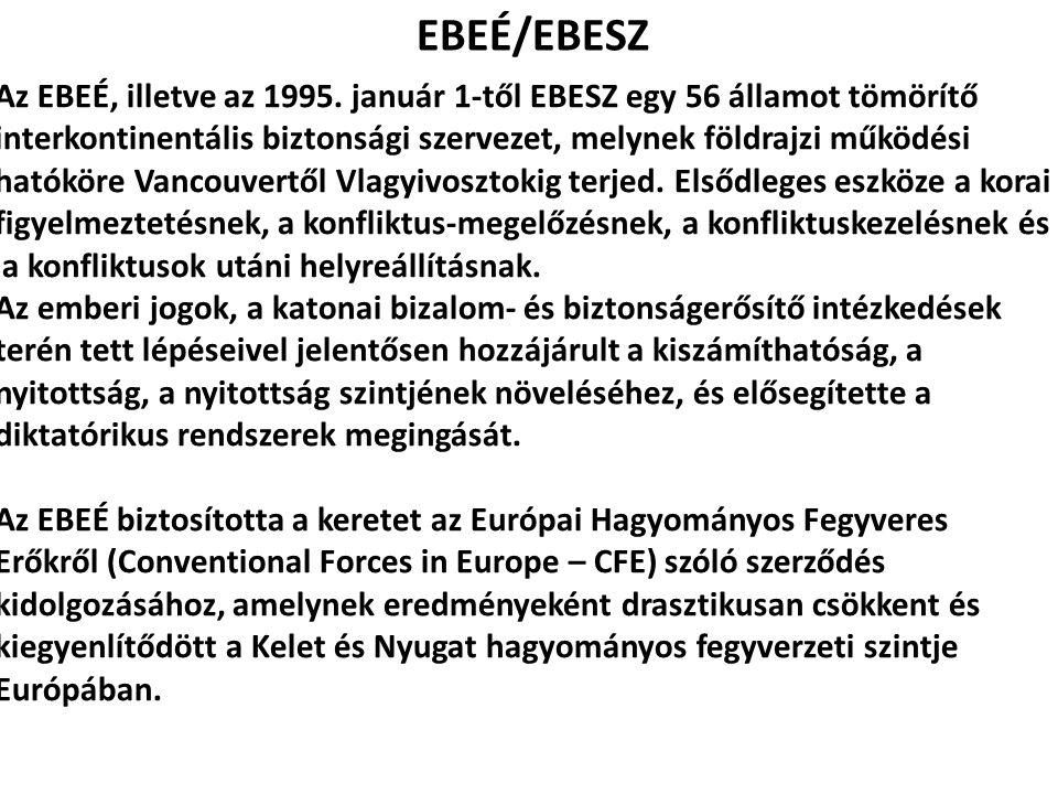 EBEÉ/EBESZ Az EBEÉ, illetve az 1995. január 1-től EBESZ egy 56 államot tömörítő interkontinentális biztonsági szervezet, melynek földrajzi működési ha