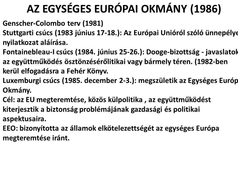 AZ EGYSÉGES EURÓPAI OKMÁNY (1986) Genscher-Colombo terv (1981) Stuttgarti csúcs (1983 június 17-18.): Az Európai Unióról szóló ünnepélyes nyilatkozat