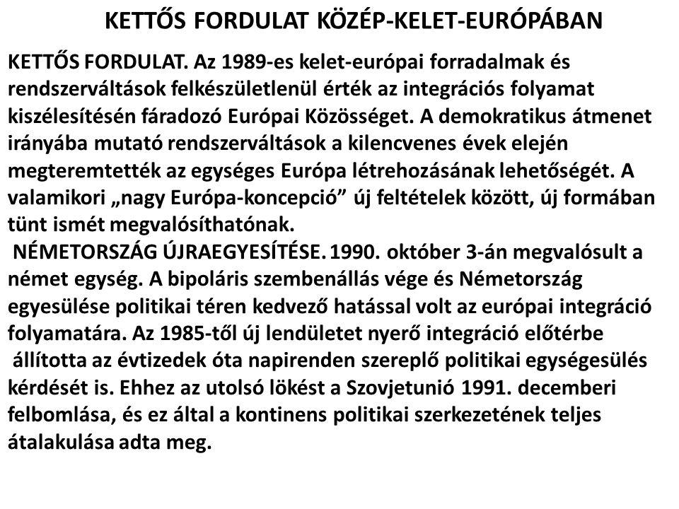 KETTŐS FORDULAT KÖZÉP-KELET-EURÓPÁBAN KETTŐS FORDULAT. Az 1989-es kelet-európai forradalmak és rendszerváltások felkészületlenül érték az integrációs