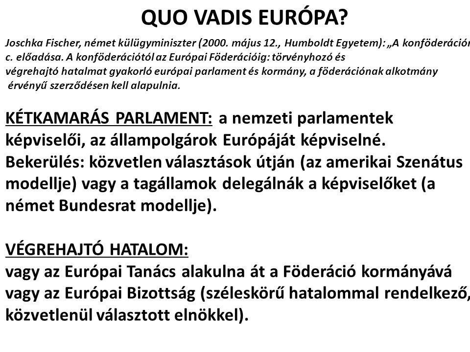 """QUO VADIS EURÓPA? Joschka Fischer, német külügyminiszter (2000. május 12., Humboldt Egyetem): """"A konföderációról"""" c. előadása. A konföderációtól az Eu"""