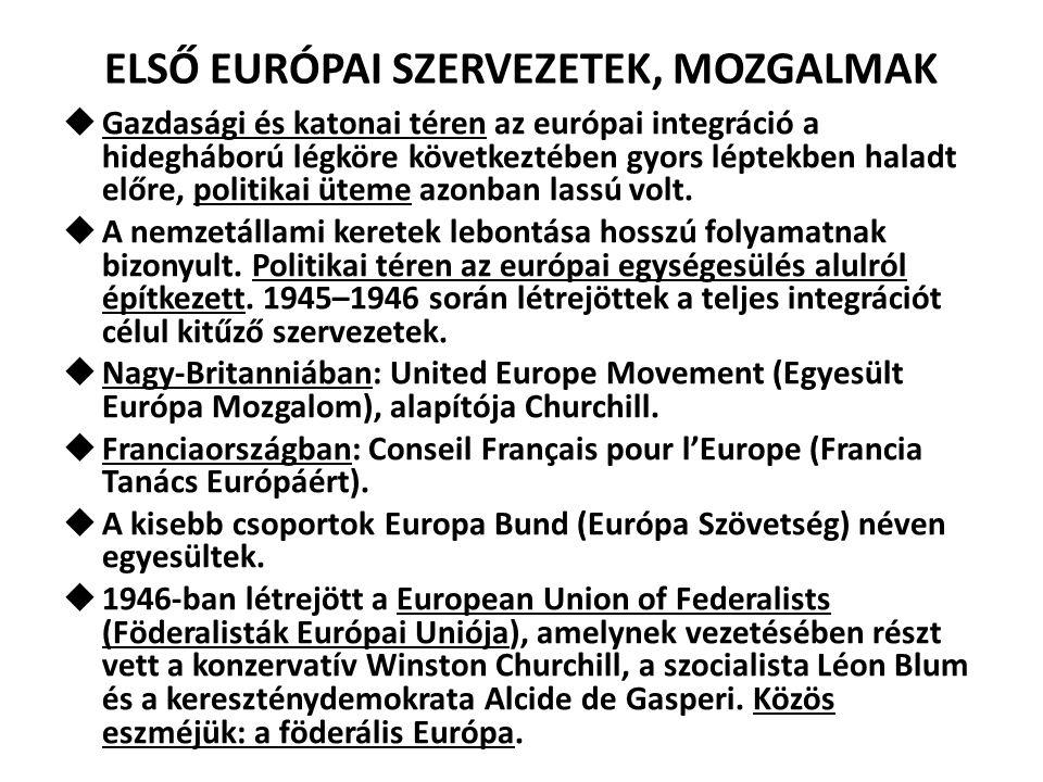 AZ EURÓPA MOZGALOM 1947 december: European Movement (Európa Mozgalom) megalakítása, eredetileg International Committee of the Movements for European Unity (az Európai Egység-Mozgalmak Nemzetközi Bizottsága) néven jött létre Párizsban.