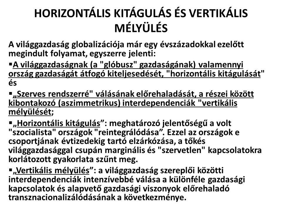 HORIZONTÁLIS KITÁGULÁS ÉS VERTIKÁLIS MÉLYÜLÉS A világgazdaság globalizációja már egy évszázadokkal ezelőtt megindult folyamat, egyszerre jelenti:  A