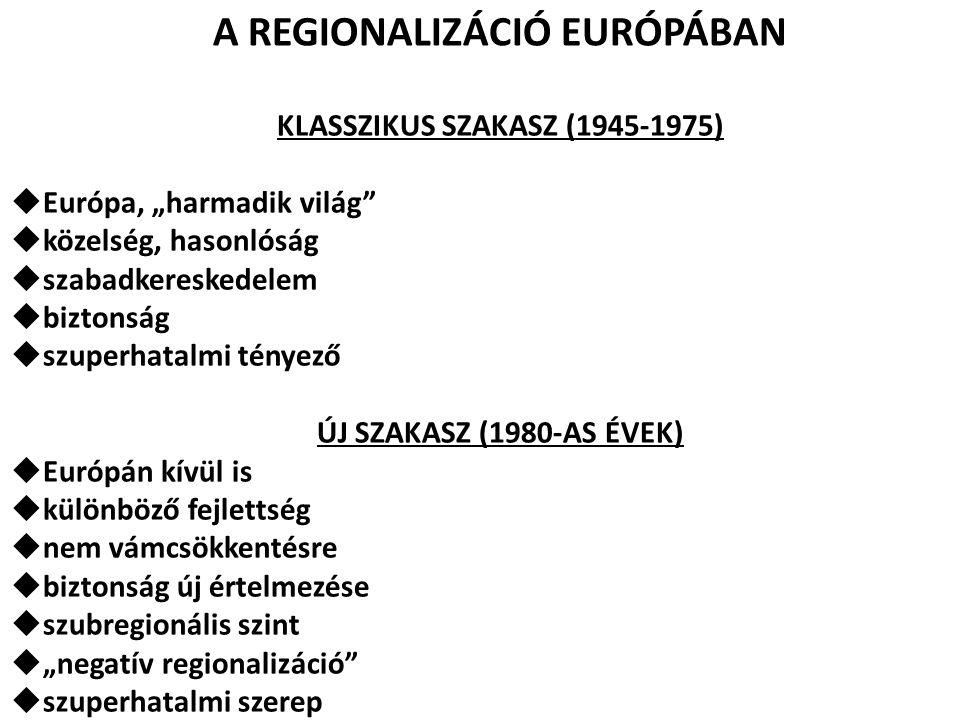 """A REGIONALIZÁCIÓ EURÓPÁBAN KLASSZIKUS SZAKASZ (1945-1975)  Európa, """"harmadik világ""""  közelség, hasonlóság  szabadkereskedelem  biztonság  szuperh"""