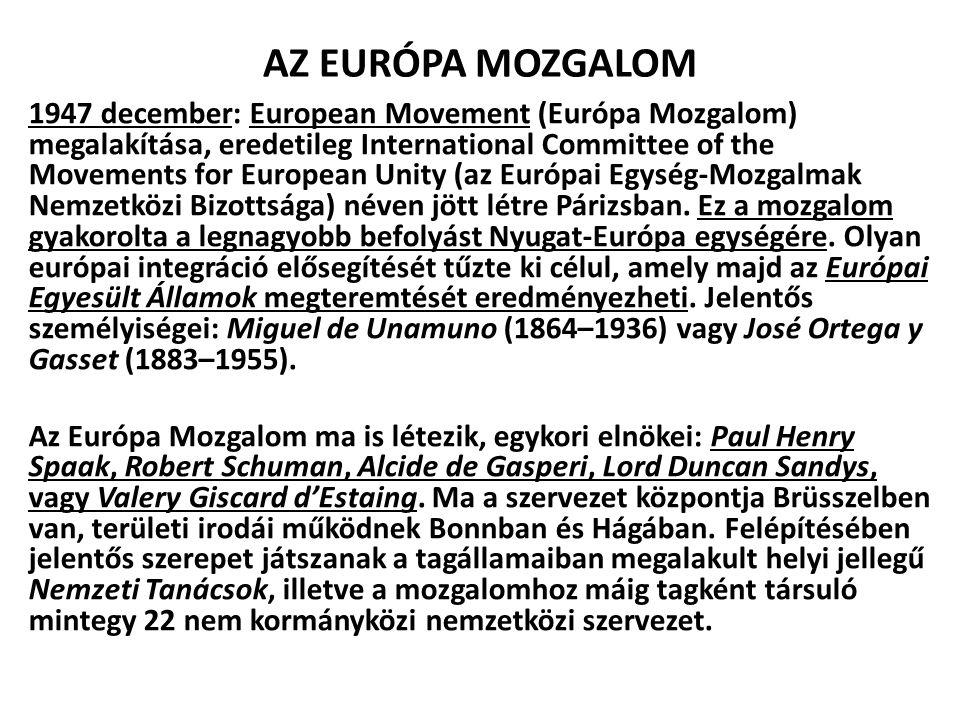 AZ EURÓPA MOZGALOM  Célja: Az európai közvélemény informálása, a demokratikus európai országok együttműködése, az európai öntudat erősítése, szövetséges szervezetek létrehozása az állami szuverenitás legfontosabb területein.