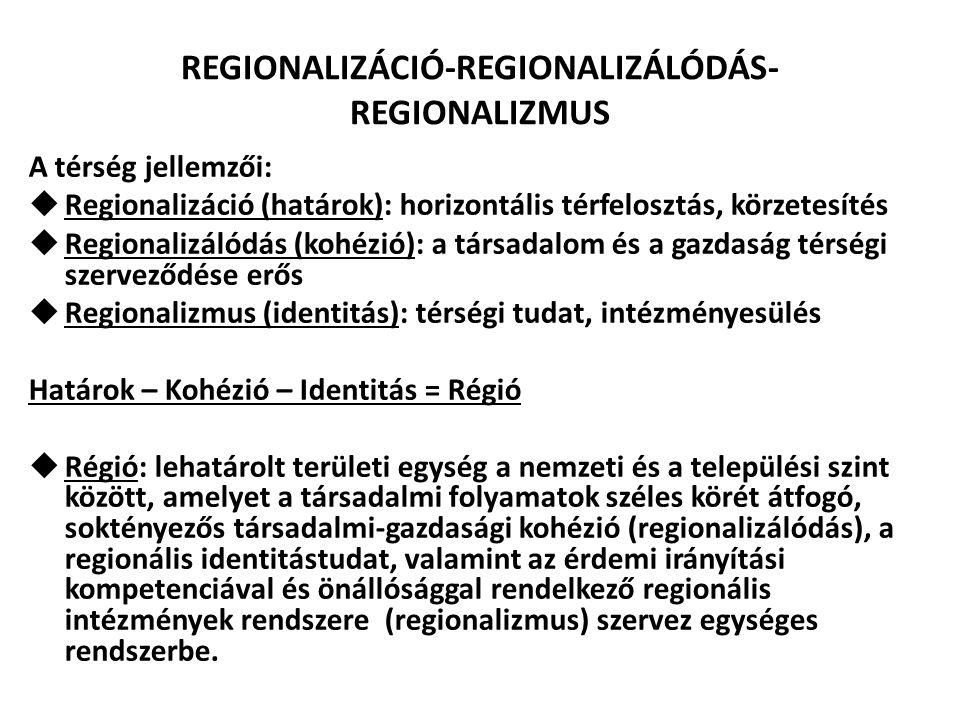 REGIONALIZÁCIÓ-REGIONALIZÁLÓDÁS- REGIONALIZMUS A térség jellemzői:  Regionalizáció (határok): horizontális térfelosztás, körzetesítés  Regionalizáló