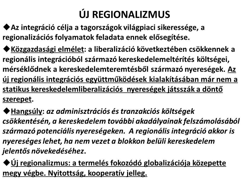 ÚJ REGIONALIZMUS  Az integráció célja a tagországok világpiaci sikeressége, a regionalizációs folyamatok feladata ennek elősegítése.  Közgazdasági e