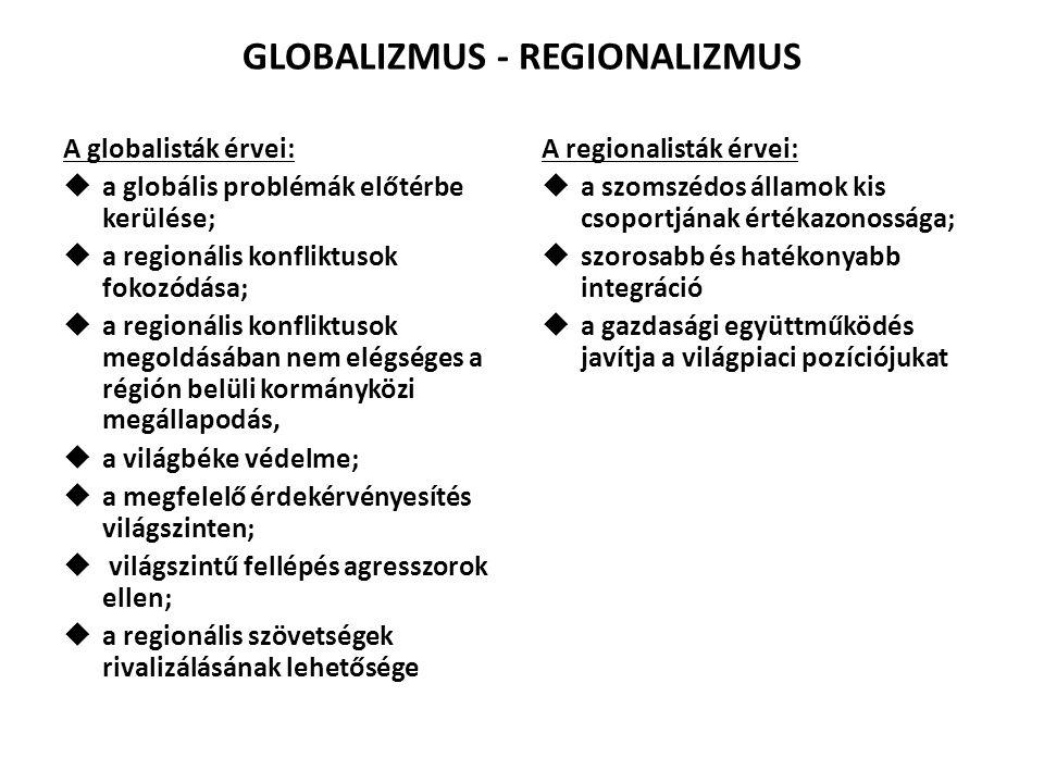 GLOBALIZMUS - REGIONALIZMUS A globalisták érvei:  a globális problémák előtérbe kerülése;  a regionális konfliktusok fokozódása;  a regionális konf
