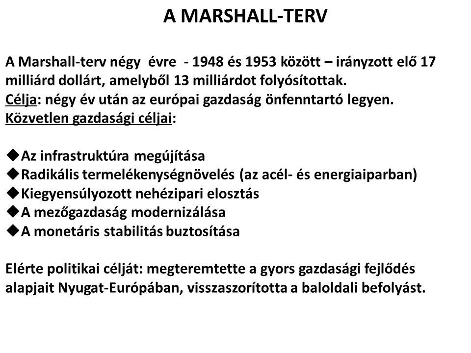 A MARSHALL-TERV A Marshall-terv négy évre - 1948 és 1953 között – irányzott elő 17 milliárd dollárt, amelyből 13 milliárdot folyósítottak. Célja: négy