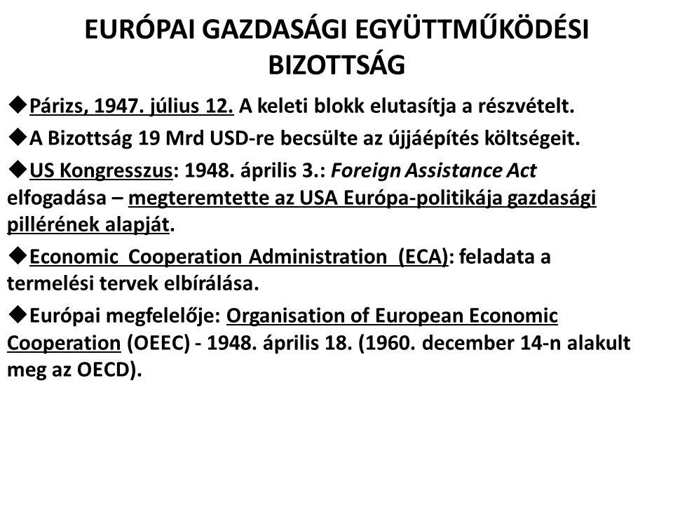 EURÓPAI GAZDASÁGI EGYÜTTMŰKÖDÉSI BIZOTTSÁG  Párizs, 1947. július 12. A keleti blokk elutasítja a részvételt.  A Bizottság 19 Mrd USD-re becsülte az