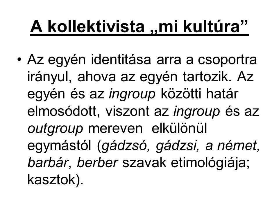 """A kollektivista """"mi kultúra"""" Az egyén identitása arra a csoportra irányul, ahova az egyén tartozik. Az egyén és az ingroup közötti határ elmosódott, v"""