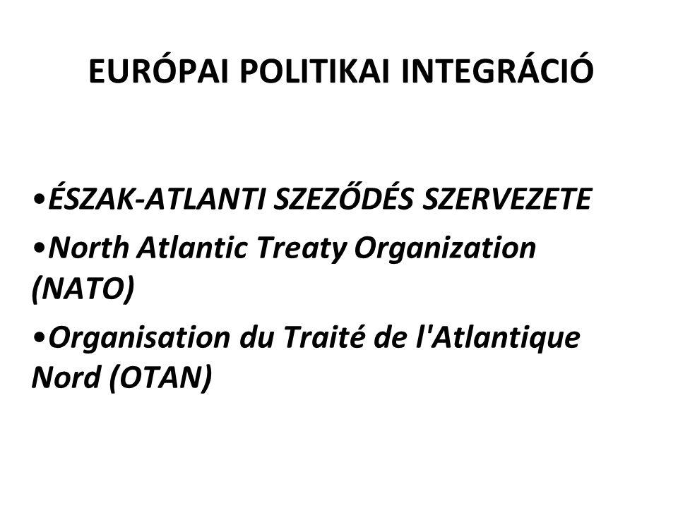 EURÓPAI POLITIKAI INTEGRÁCIÓ ÉSZAK-ATLANTI SZEZŐDÉS SZERVEZETE North Atlantic Treaty Organization (NATO) Organisation du Traité de l Atlantique Nord (OTAN)