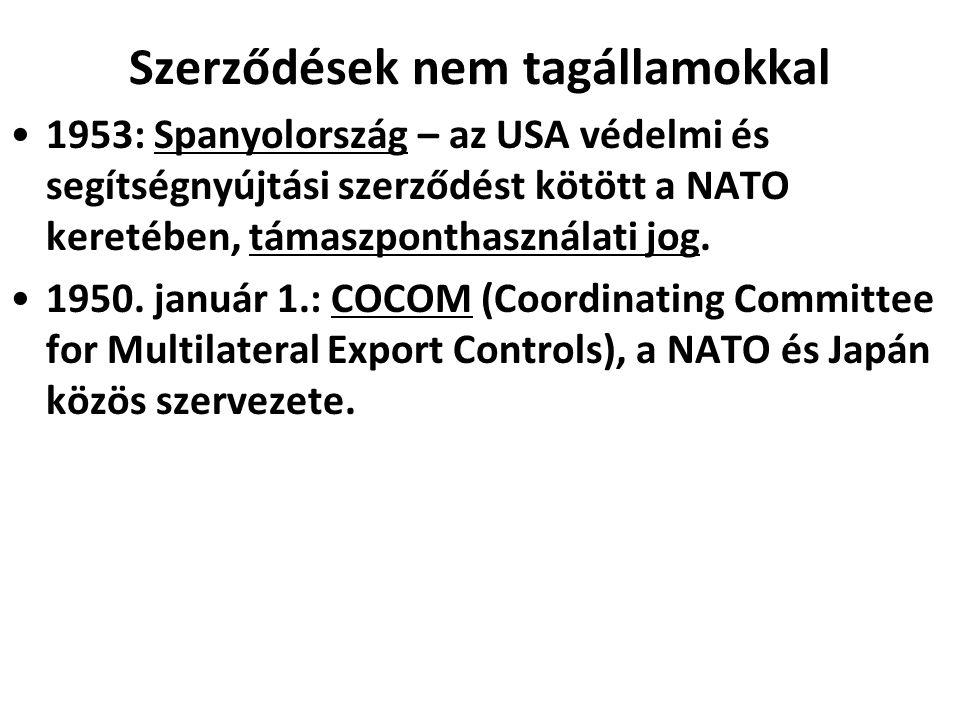 Szerződések nem tagállamokkal 1953: Spanyolország – az USA védelmi és segítségnyújtási szerződést kötött a NATO keretében, támaszponthasználati jog.