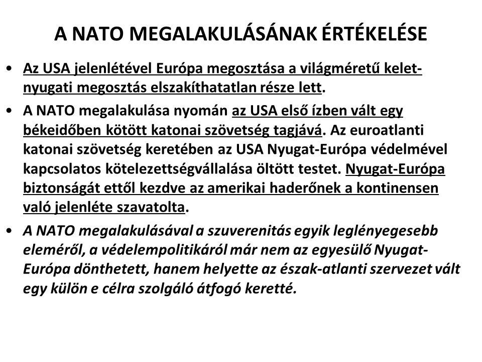 A NATO MEGALAKULÁSÁNAK ÉRTÉKELÉSE Az USA jelenlétével Európa megosztása a világméretű kelet- nyugati megosztás elszakíthatatlan része lett.