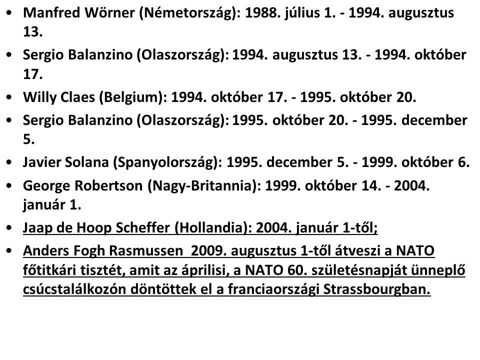Manfred Wörner (Németország): 1988.július 1. - 1994.
