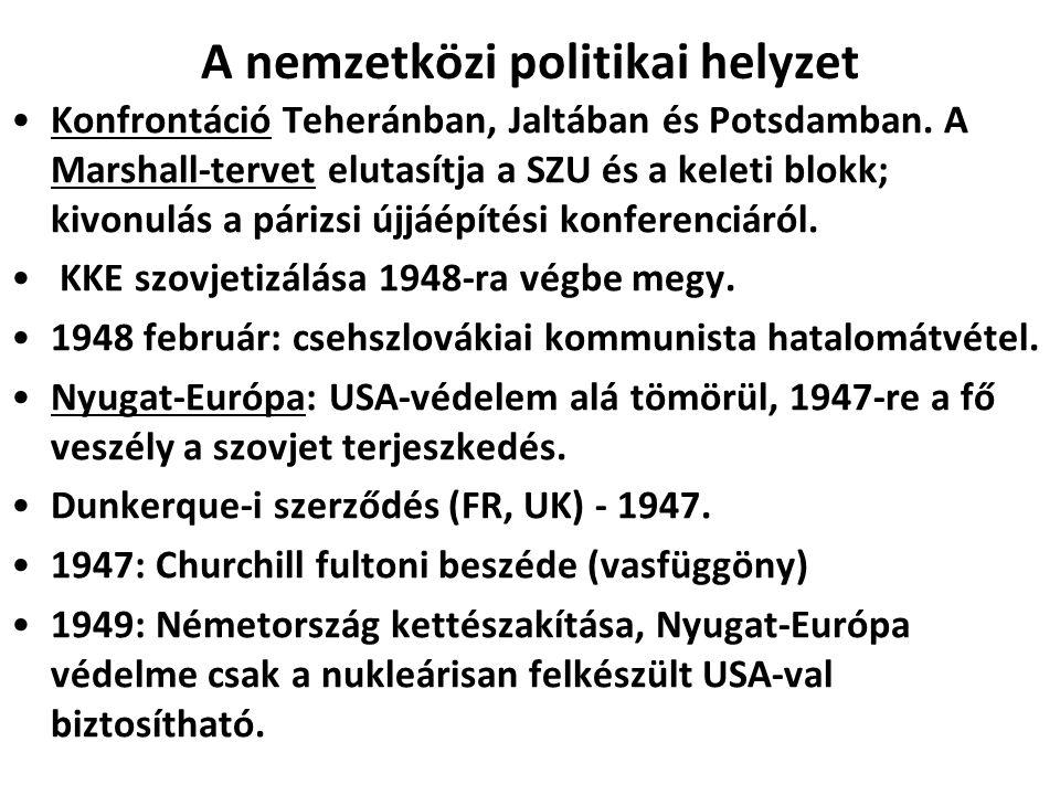 A NATO megalakulása Az USA és a SZU alapvető ideológiai, politikai érdekkülönbözőségei miatt a nemzetközi rendszer bipolarizálódott, Európa politikailag, ideológiailag, gazdaságilag és katonailag kettészakadt.