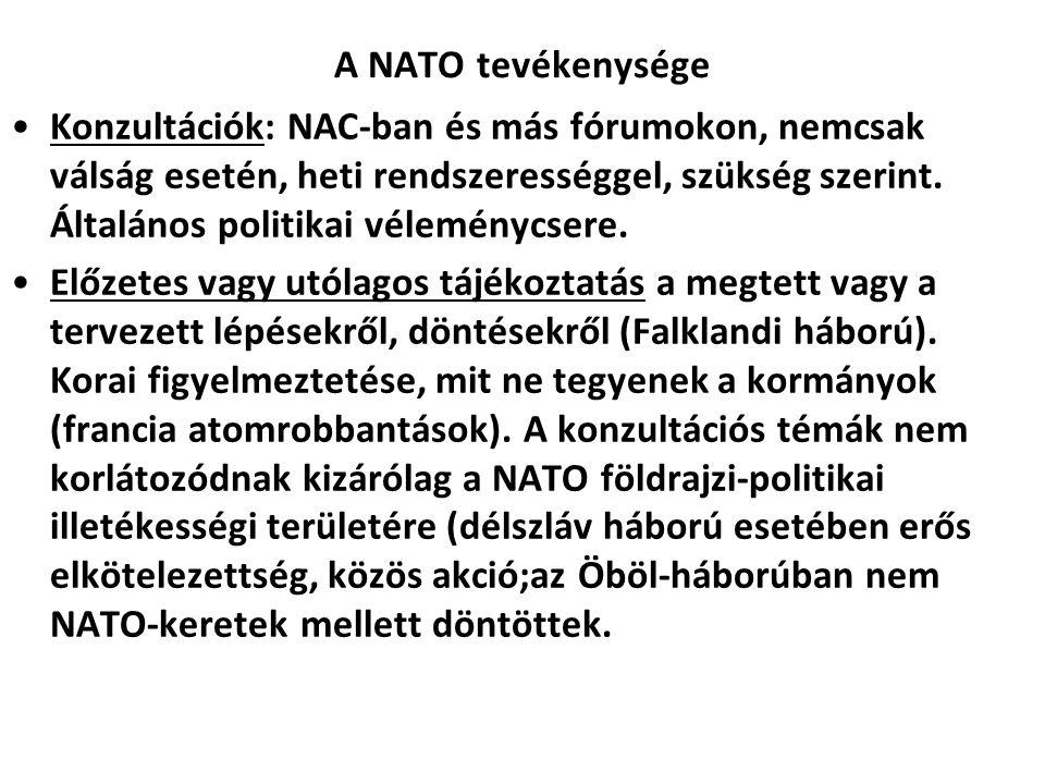 A NATO tevékenysége Konzultációk: NAC-ban és más fórumokon, nemcsak válság esetén, heti rendszerességgel, szükség szerint.
