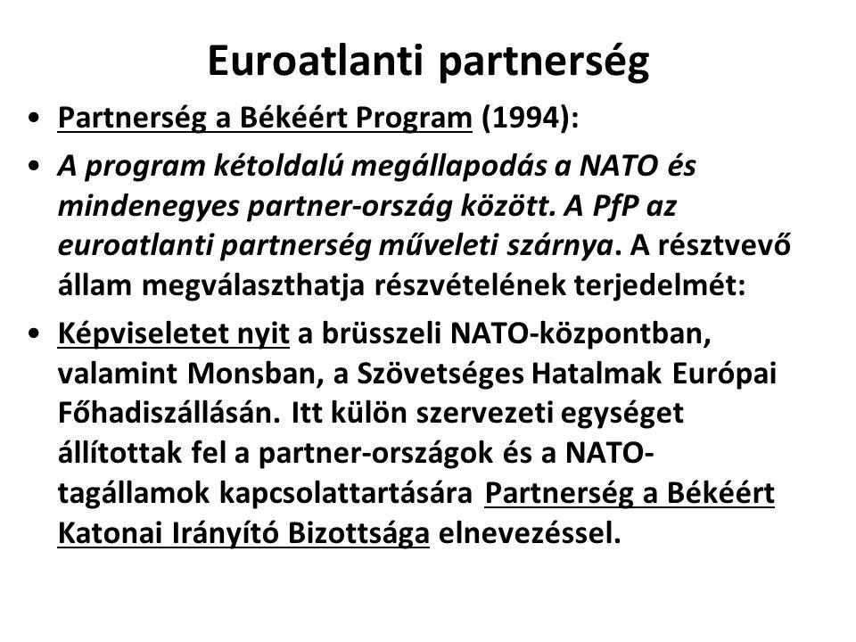 Euroatlanti partnerség Partnerség a Békéért Program (1994): A program kétoldalú megállapodás a NATO és mindenegyes partner-ország között.