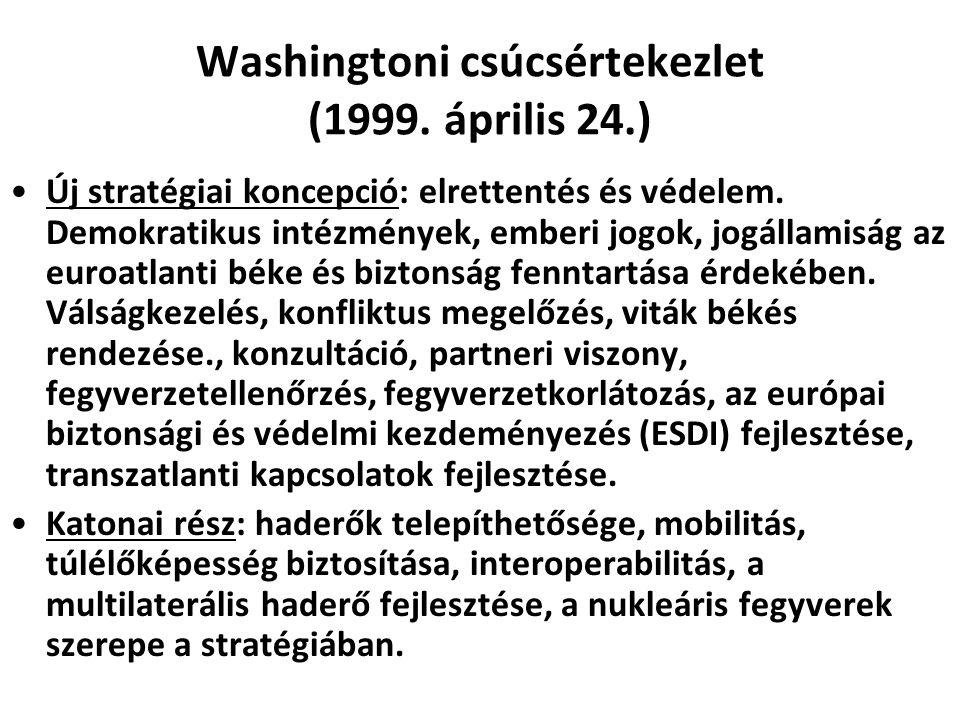 Washingtoni csúcsértekezlet (1999. április 24.) Új stratégiai koncepció: elrettentés és védelem. Demokratikus intézmények, emberi jogok, jogállamiság