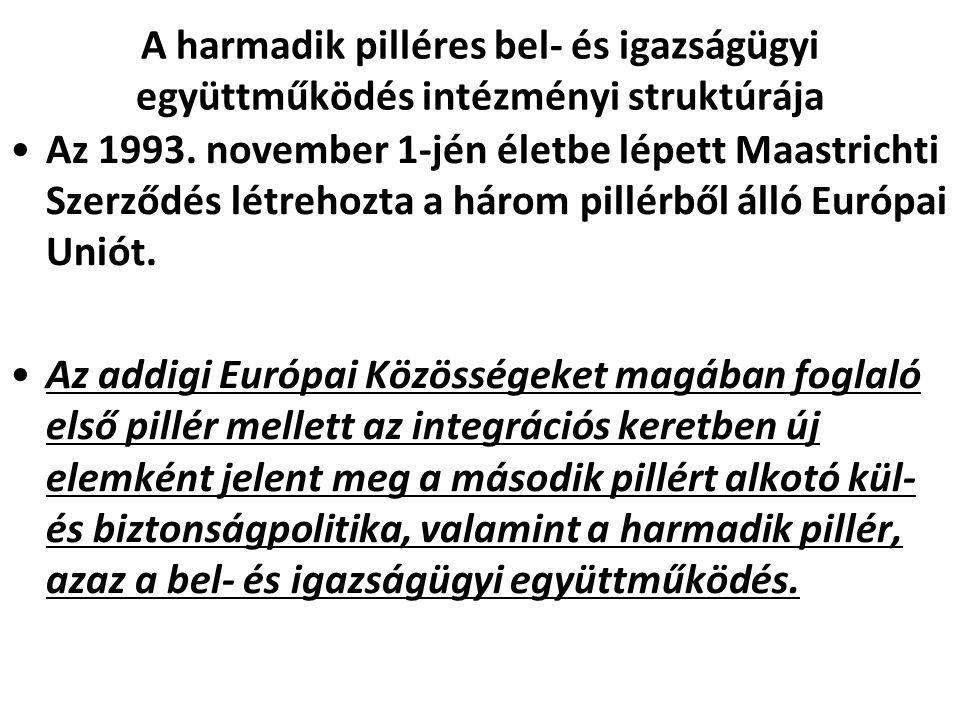 A harmadik pilléres bel- és igazságügyi együttműködés intézményi struktúrája Az 1993. november 1-jén életbe lépett Maastrichti Szerződés létrehozta a