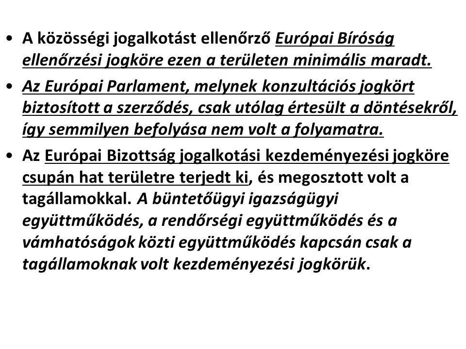 A közösségi jogalkotást ellenőrző Európai Bíróság ellenőrzési jogköre ezen a területen minimális maradt. Az Európai Parlament, melynek konzultációs jo