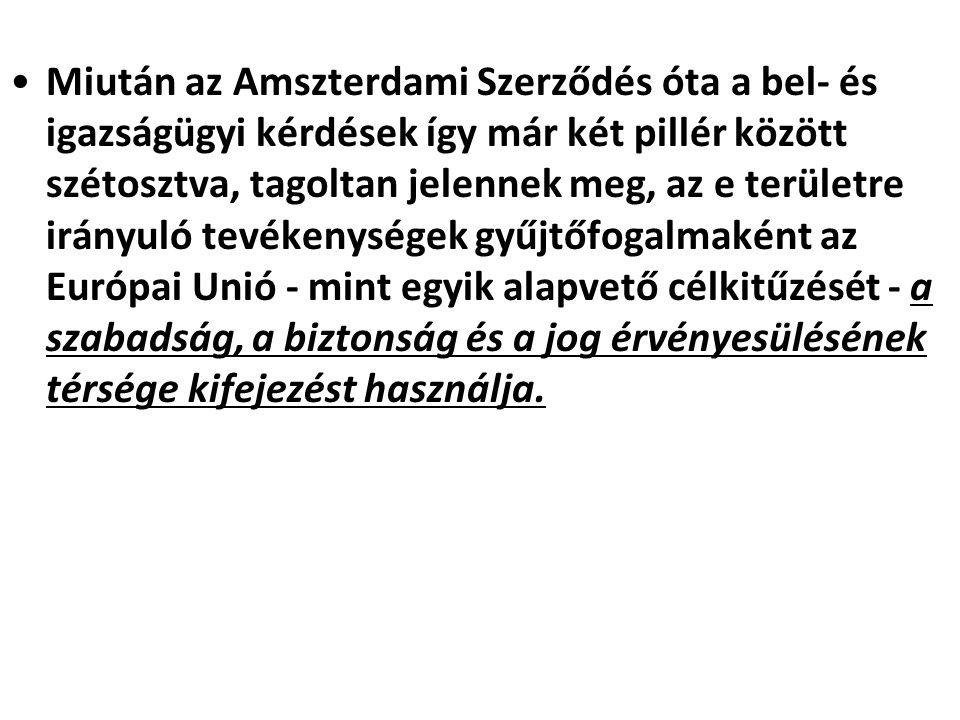 Miután az Amszterdami Szerződés óta a bel- és igazságügyi kérdések így már két pillér között szétosztva, tagoltan jelennek meg, az e területre irányul