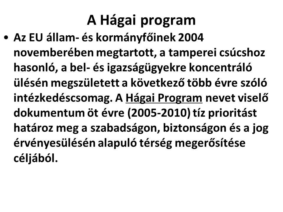 A Hágai program Az EU állam- és kormányfőinek 2004 novemberében megtartott, a tamperei csúcshoz hasonló, a bel- és igazságügyekre koncentráló ülésén m
