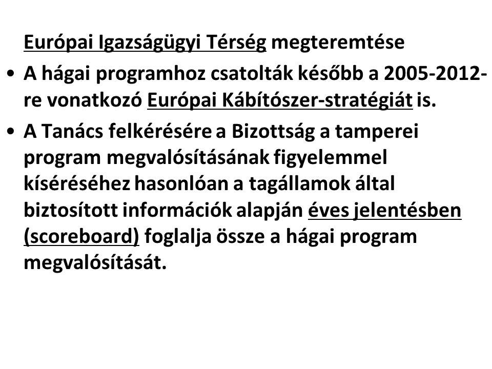 Európai Igazságügyi Térség megteremtése A hágai programhoz csatolták később a 2005-2012- re vonatkozó Európai Kábítószer-stratégiát is. A Tanács felké