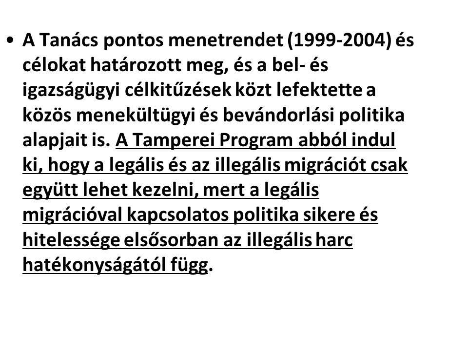 A Tanács pontos menetrendet (1999-2004) és célokat határozott meg, és a bel- és igazságügyi célkitűzések közt lefektette a közös menekültügyi és beván