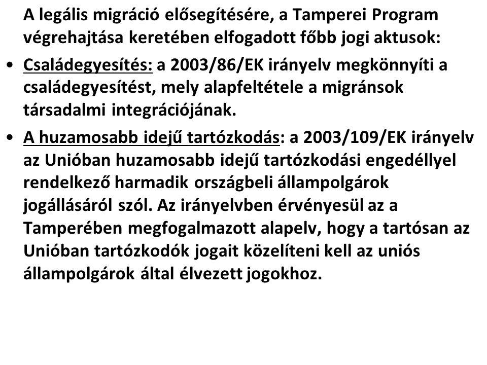 A legális migráció elősegítésére, a Tamperei Program végrehajtása keretében elfogadott főbb jogi aktusok: Családegyesítés: a 2003/86/EK irányelv megkö