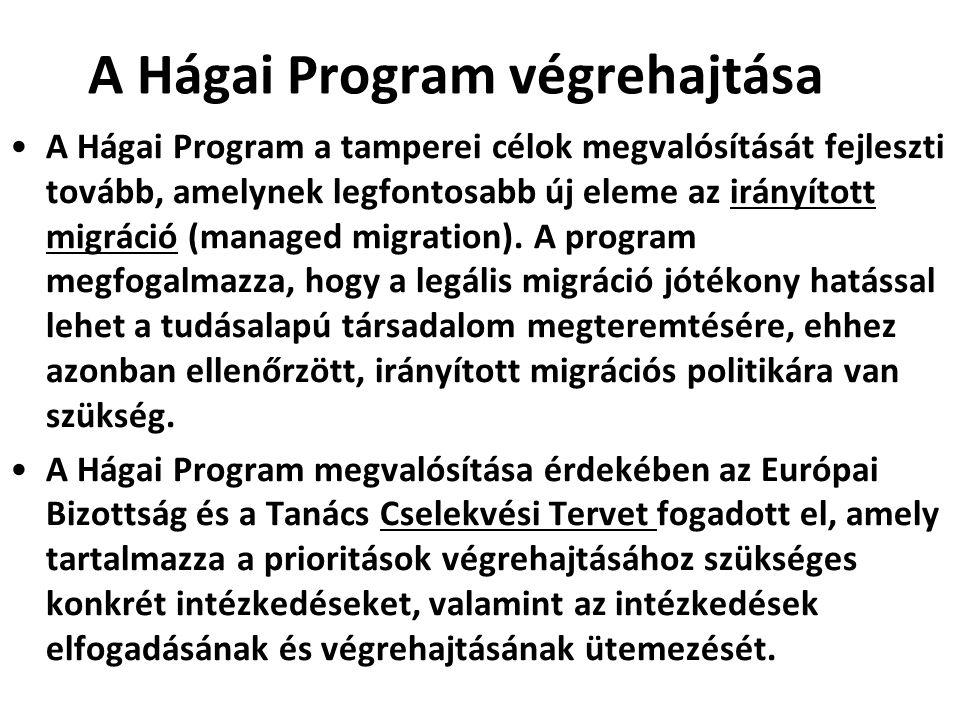 A Hágai Program végrehajtása A Hágai Program a tamperei célok megvalósítását fejleszti tovább, amelynek legfontosabb új eleme az irányított migráció (