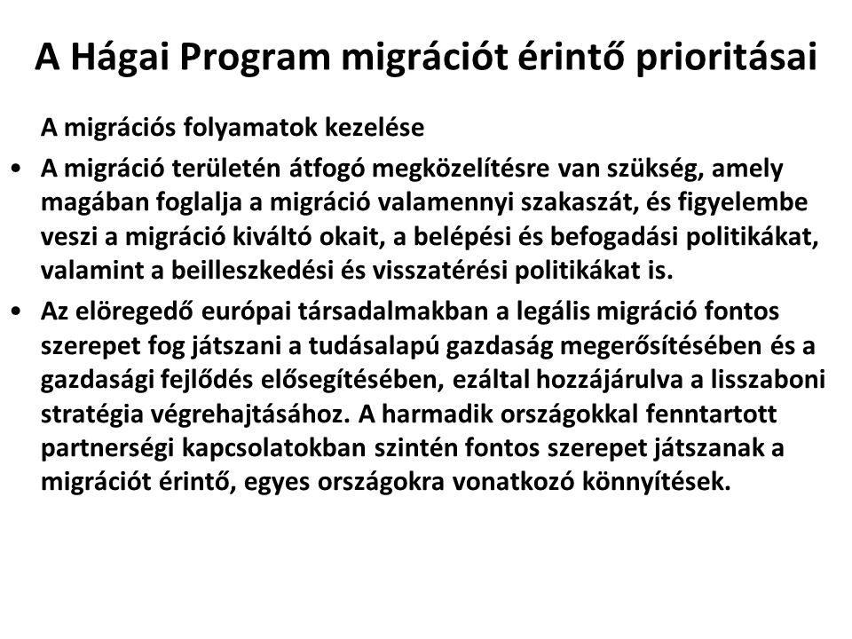 A Hágai Program migrációt érintő prioritásai A migrációs folyamatok kezelése A migráció területén átfogó megközelítésre van szükség, amely magában fog