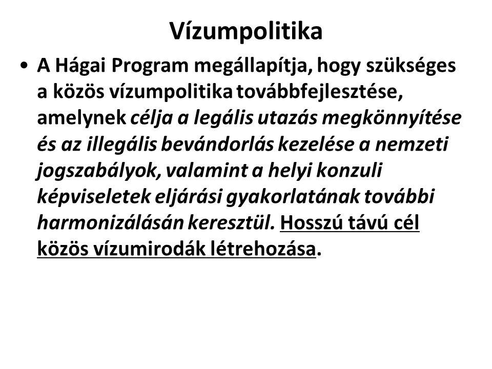 Vízumpolitika A Hágai Program megállapítja, hogy szükséges a közös vízumpolitika továbbfejlesztése, amelynek célja a legális utazás megkönnyítése és a