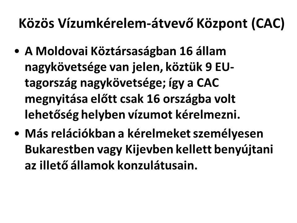 Közös Vízumkérelem-átvevő Központ (CAC) A Moldovai Köztársaságban 16 állam nagykövetsége van jelen, köztük 9 EU- tagország nagykövetsége; így a CAC me