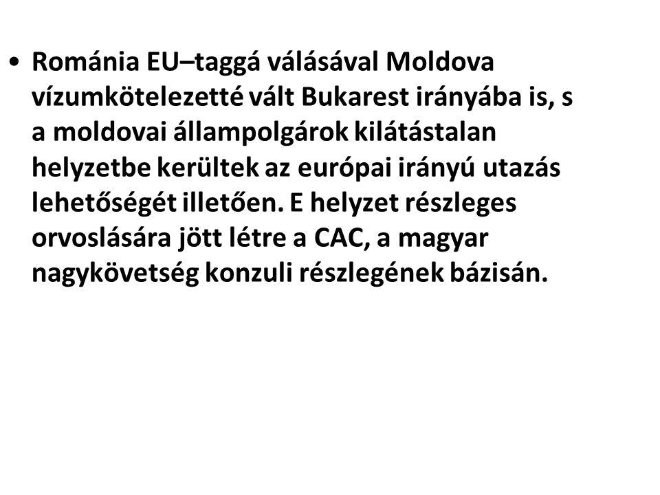 Románia EU–taggá válásával Moldova vízumkötelezetté vált Bukarest irányába is, s a moldovai állampolgárok kilátástalan helyzetbe kerültek az európai i