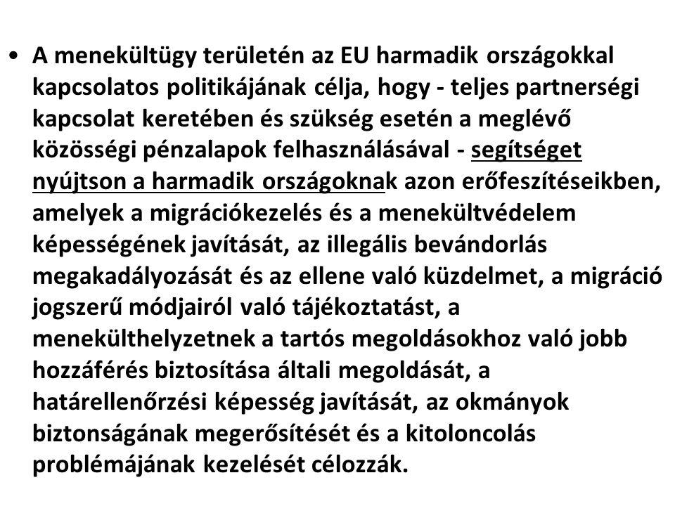 A menekültügy területén az EU harmadik országokkal kapcsolatos politikájának célja, hogy - teljes partnerségi kapcsolat keretében és szükség esetén a