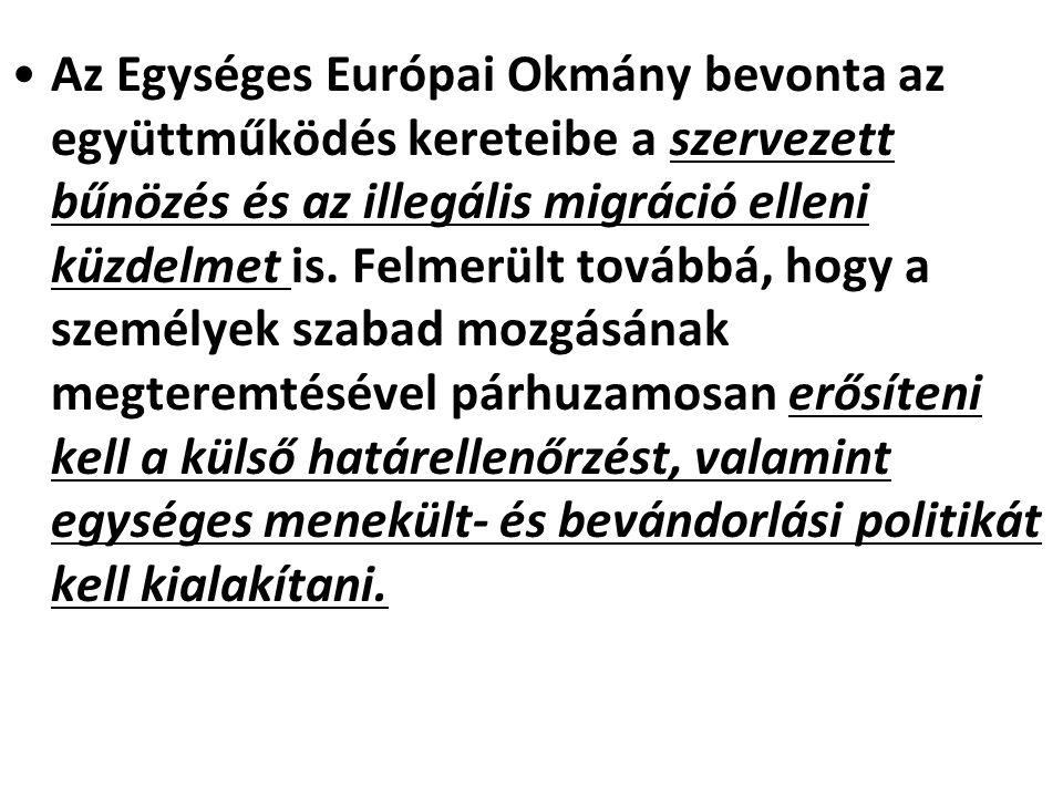 Az Egységes Európai Okmány bevonta az együttműködés kereteibe a szervezett bűnözés és az illegális migráció elleni küzdelmet is. Felmerült továbbá, ho