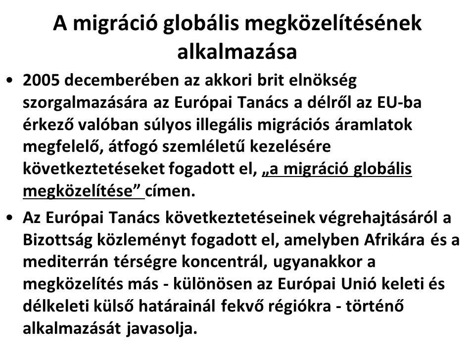 A migráció globális megközelítésének alkalmazása 2005 decemberében az akkori brit elnökség szorgalmazására az Európai Tanács a délről az EU-ba érkező