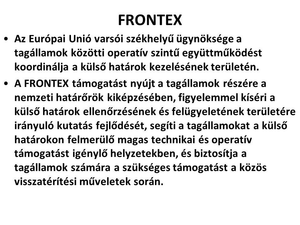FRONTEX Az Európai Unió varsói székhelyű ügynöksége a tagállamok közötti operatív szintű együttműködést koordinálja a külső határok kezelésének terüle