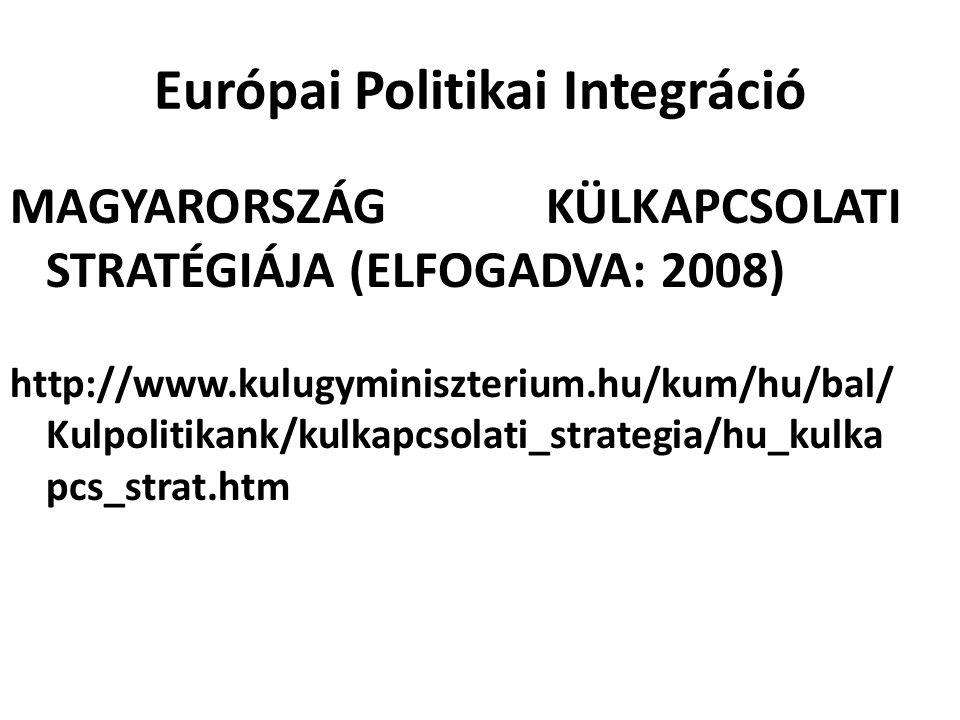 Európai Politikai Integráció MAGYARORSZÁG KÜLKAPCSOLATI STRATÉGIÁJA (ELFOGADVA: 2008) http://www.kulugyminiszterium.hu/kum/hu/bal/ Kulpolitikank/kulka