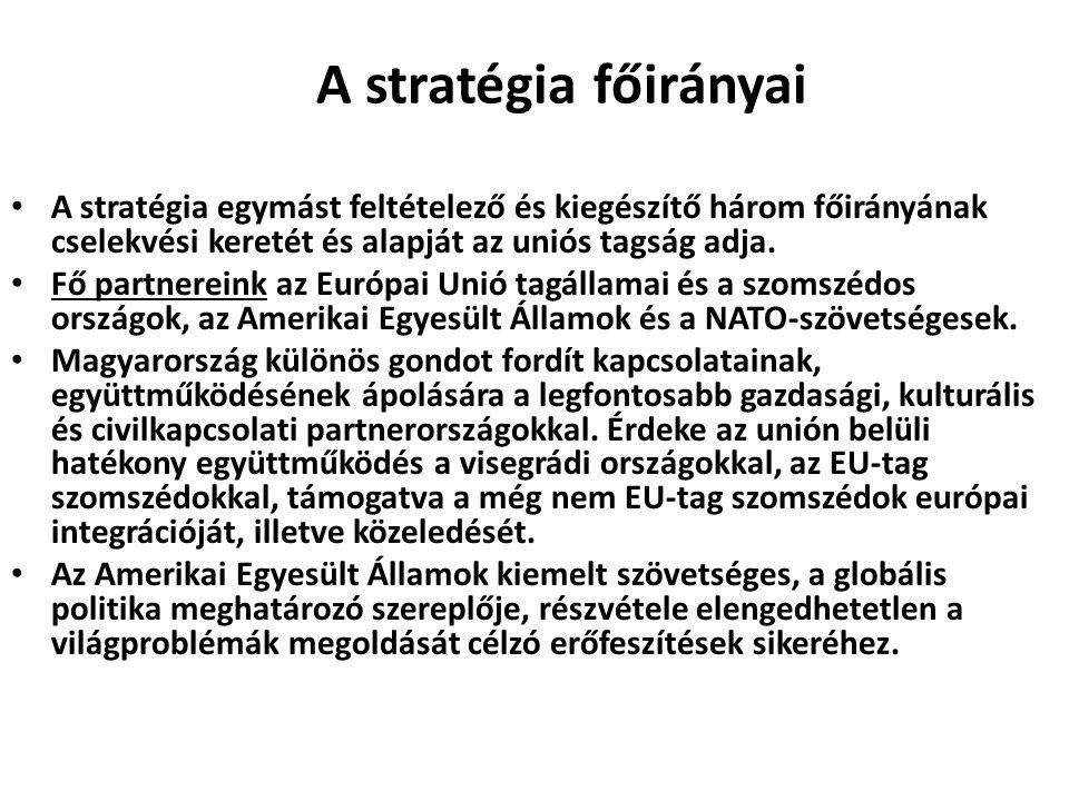 A stratégia főirányai A stratégia egymást feltételező és kiegészítő három főirányának cselekvési keretét és alapját az uniós tagság adja. Fő partnerei