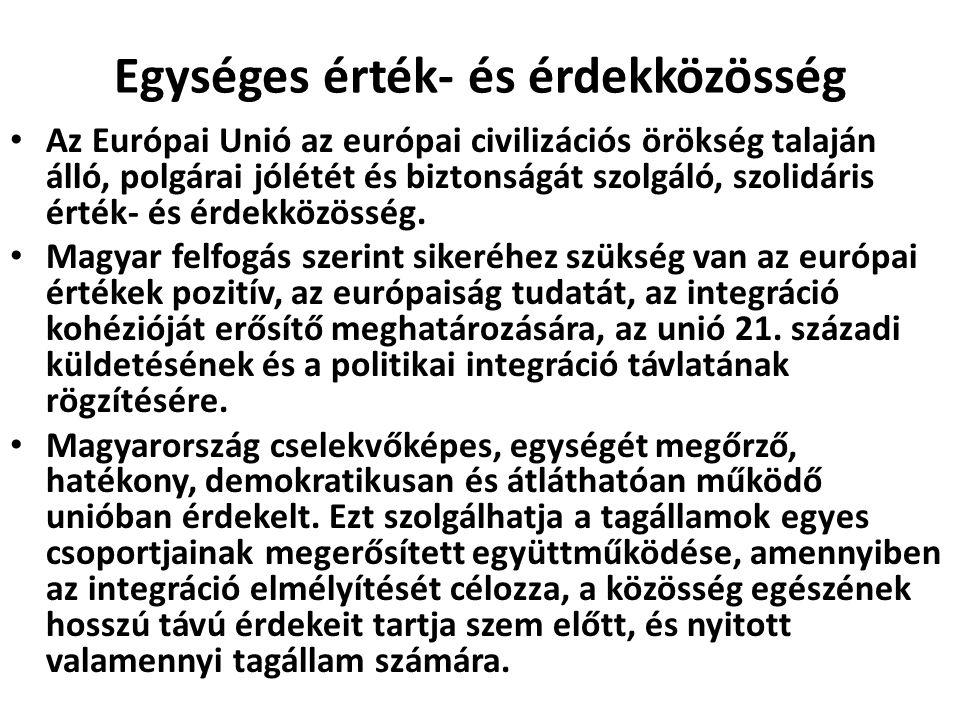 Egységes érték- és érdekközösség Az Európai Unió az európai civilizációs örökség talaján álló, polgárai jólétét és biztonságát szolgáló, szolidáris ér