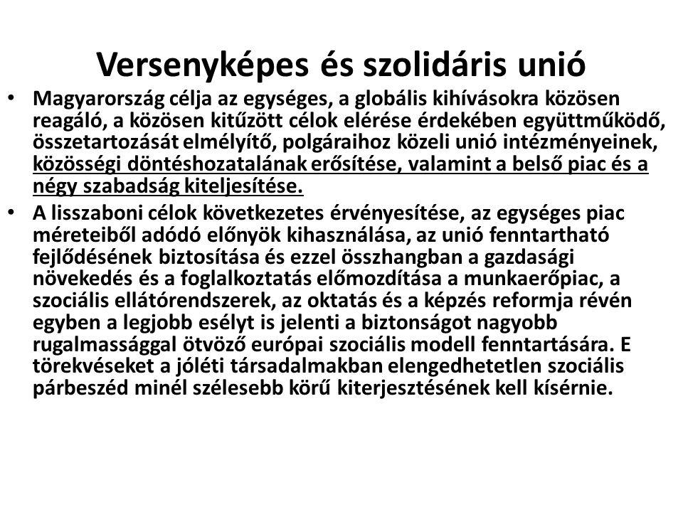 Versenyképes és szolidáris unió Magyarország célja az egységes, a globális kihívásokra közösen reagáló, a közösen kitűzött célok elérése érdekében egy