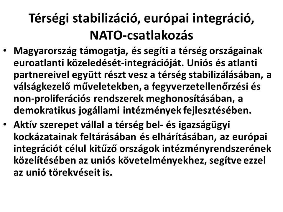 Térségi stabilizáció, európai integráció, NATO-csatlakozás Magyarország támogatja, és segíti a térség országainak euroatlanti közeledését-integrációjá