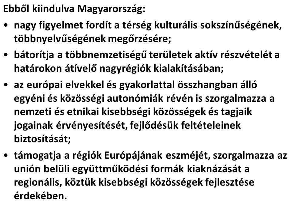 Ebből kiindulva Magyarország: nagy figyelmet fordít a térség kulturális sokszínűségének, többnyelvűségének megőrzésére; bátorítja a többnemzetiségű te