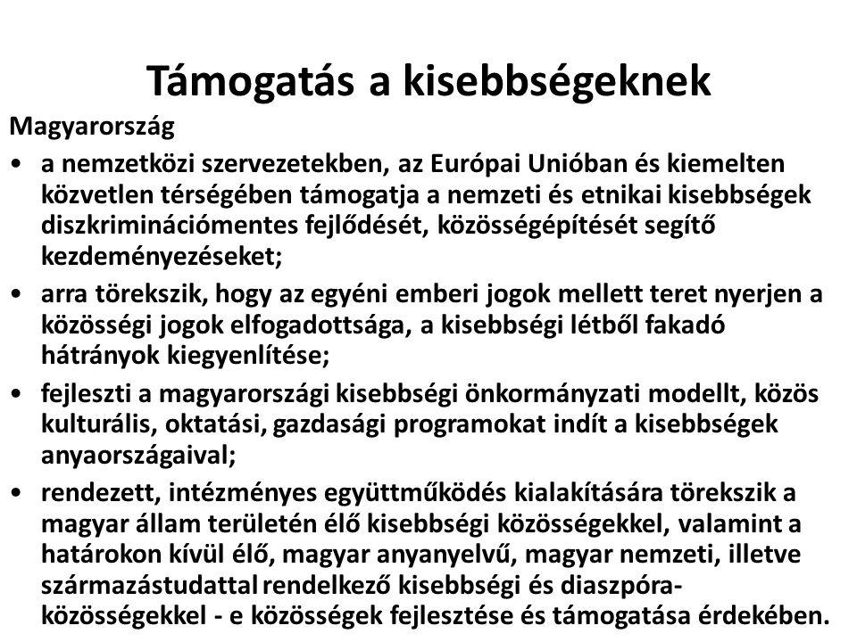 Támogatás a kisebbségeknek Magyarország a nemzetközi szervezetekben, az Európai Unióban és kiemelten közvetlen térségében támogatja a nemzeti és etnik