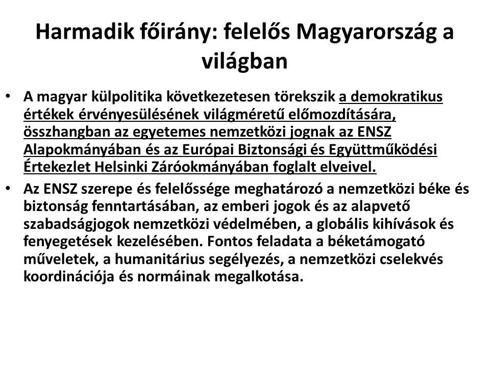 Harmadik főirány: felelős Magyarország a világban A magyar külpolitika következetesen törekszik a demokratikus értékek érvényesülésének világméretű el